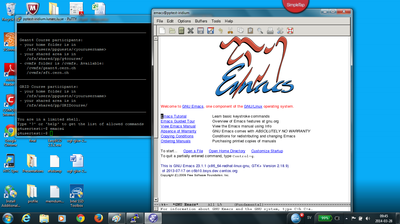 Example of a desktop with working Xserver and Emacs open remotely